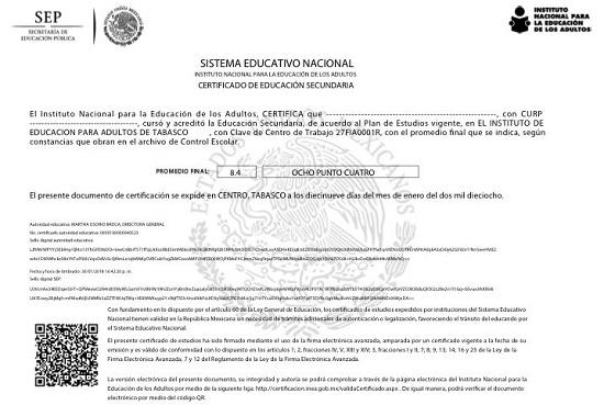 certificados de primaria y secundaria para adultos ya son digitales